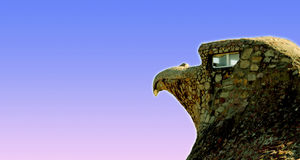 The Stone Eagle of Atlantida. The Stone Eagle - Historical monument house in the seaside resort of Atlantida in Canelones, Uruguay Royalty Free Stock Photo