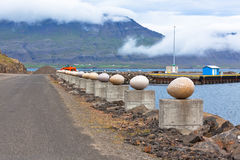 The Stone Eggs of Merry Bay, Djupivogur, Iceland. 34 large scale egg replicas representing 34 bird species found in the area Stock Photo