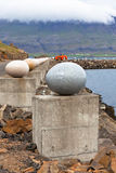 The Stone Eggs of Merry Bay, Djupivogur, Iceland. 34 large scale egg replicas representing 34 bird species found in the area Stock Photography