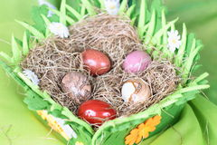 Stone eggs in nest of hay Royalty Free Stock Photo