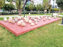 Stone eggs in a park. Loads of large stone eggs in a park Stock Photo