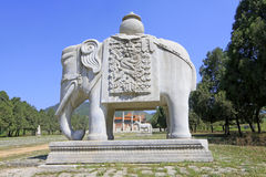 Stone elephant in the Eastern Royal Tombs of the Qing Dynasty, c. ZUNHUA - MAY 11: Stone elephant in the Eastern Royal Tombs of the Qing Dynasty on May 11, 2013 royalty free stock photography