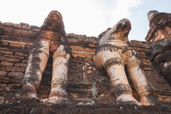 Stone Elephant Statues Decorated at Archaeological Site at Kamphaeng Phet Historical Park. Kamphaeng Phet Province, Thailand Royalty Free Stock Images