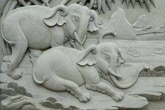 Stone elephants royalty free stock image