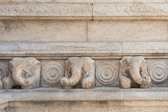 Stone elephants bas-relief Royalty Free Stock Images