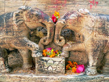Stone elephants in love Royalty Free Stock Photos