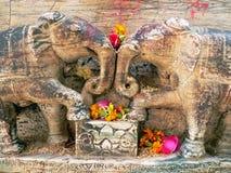 Stone elephants in love. Trunk to trunk temple detail Khajuraho temple Royalty Free Stock Photos