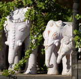 Stone elephants, Narlai. Statues in hotel grounds in Narlai, Rajasthan Stock Photo