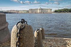 Stone embankment on Neva River in Saint Petersburg, Russia Stock Photos