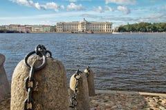 Stone embankment on Neva River in Saint Petersburg, Russia Royalty Free Stock Image