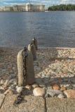 Stone embankment on Neva River in Saint Petersburg, Russia Stock Photography