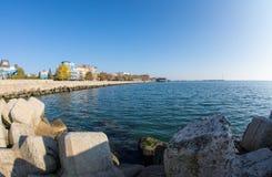 Stone embankment strengthening of Pomorie in Bulgaria Stock Photography
