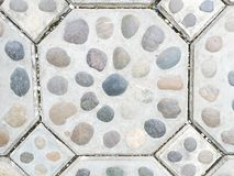Stone embed in cement for brick floor Stock Image