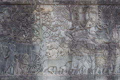 Stone engraving at Angkor Wat Temple in Cambodia Royalty Free Stock Image