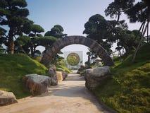 Stone entrance to Zen garden stock images
