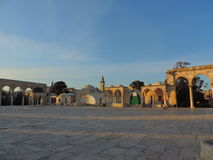 Stone entrances of the Al-Aqsa mosque, Jerusalem. This picture captures the stone entrances and the vast area outside the Al-Aqsa mosque. Al-Aqsa Mosque, also Stock Image