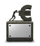 Stone euro symbol. Man pushes stone euro symbol on white background - 3d illustration Stock Images