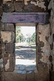 Stone exit gate in the asian stone castle stock photography