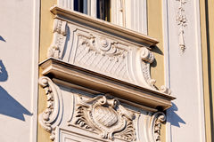 Stone facade on classical building Stock Photo