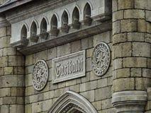 The stone facade of the Gothic Garibaldi castle. Samara region. 20 April 2017 royalty free stock photography