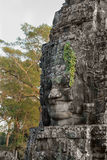 Stone face in ancient Bayon temple, Angkor in Cambodia Stock Images