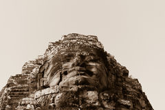 Stone face in ancient Bayon temple, Angkor in Cambodia Royalty Free Stock Photo