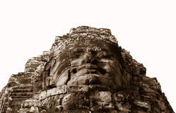 Stone face in ancient Bayon temple, Angkor in Cambodia Stock Image