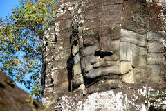 Stone face in Angkor Wat Stock Photo