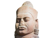 Stone face in Angkor Wat on white background, Cambodia Royalty Free Stock Photo