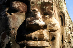 Stone Face Of Bayon. Angkor Wat temple near Siem Reap in Cambodia royalty free stock photography