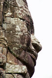 Stone face Bayon Cambodia. Massive stone face of Budda or Brahma in profile at Bayon in Siem Reap Cambodia stock images