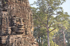 Stone face in Bayon temple in ancient city Angkor Stock Image