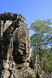 Stone face of Bayon temple, Angkor area, Siem Reap Royalty Free Stock Photos