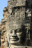 Stone face of Bayon temple, Angkor area, Siem Reap Royalty Free Stock Images