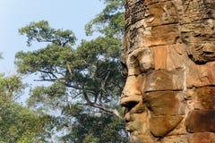 Stone face in Bayon Templex stock photos