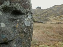 Stone face. Face carved into ruined stone walls above the Big Water of Fleet, Galloway Royalty Free Stock Photography