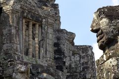 Stone Face Carvings Bayon Temple Stock Photography