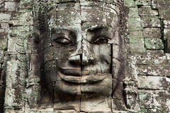 The stone face of the khmer king, Cambodia. Stock Photography