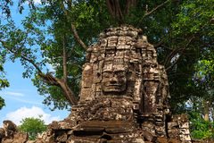 Stone face at Ta Som temple. Architecture of old buddhist Ta Som temple in Angkor Archeological area Stock Photo