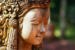 Stone Face Woman Statue in Thailand Stock Images