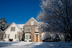 Stone Faced House with Snow and Blue Sky Royalty Free Stock Image