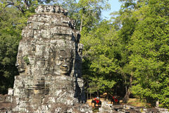 Stone faces of Bayon temple, Angkor area, Siem Reap Royalty Free Stock Image