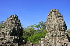 Stone faces of Bayon temple, Angkor area, Siem Reap Stock Photography