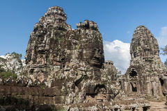 Stone faces of Bayon temple Royalty Free Stock Photo