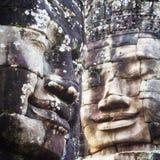 Stone Faces at Bayon Temple at Angkor, Siem Reap, Cambodia Stock Photos