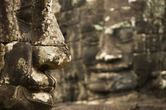 Stone faces, Bayon temple, Angkor Wat,Cambodia Royalty Free Stock Photo