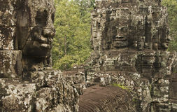 Stone faces, Bayon temple, Cambodia Royalty Free Stock Photography