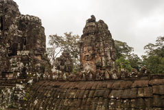 Stone faces at the bayon temple in siem reap,cambodia Royalty Free Stock Image