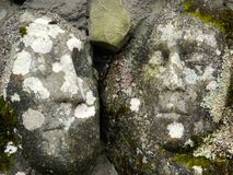 Stone faces. Faces carved into ruined stone walls above the Big Water of Fleet, Galloway Royalty Free Stock Photos