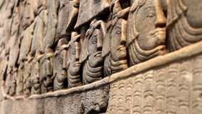 Stone faces of Khmer Army Royalty Free Stock Images